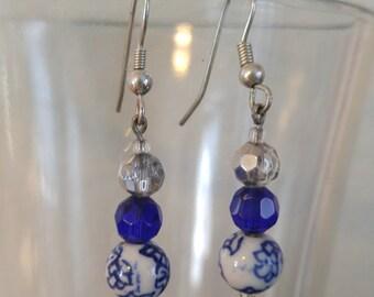 Earrings, Small Drop Earrings, Blue, White, Silver, Gift, Flowers, Blue Flowers, Antique