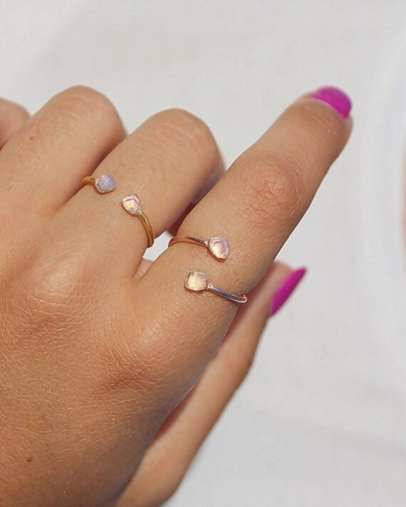 Moonstone Ring, Sterling Silver Ring, Moonstone Gold Ring, Rose Gold Ring, Moonstone Stacking Ring, Moonstone