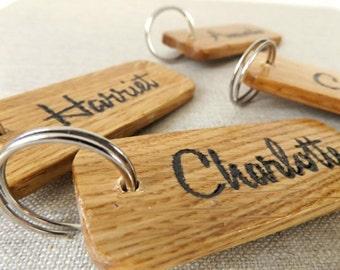 Engraved Personalised Keyring - Oak wood Keyring - Engraved gift - wooden gift - Labelled keyring - office keyring - business keyring
