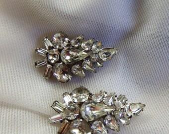 Vintage 1940s Diamante Rhinestone Brooch Leaf-Shaped Pin Set