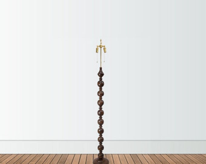 Cherry Wood Floor Lamp, A.B. Thomas Original, Solid Brass Hardware Adjustable Shade Riser, Handmade
