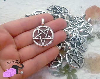 2 pendants with Magic Pentagram 36x26 mm - antique silver tone - SP1