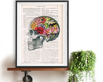 Art Print Flowery Brain collage Printed on Vintage Dictionary Book page. Wall decor art, Anatomy decor, Flower print art