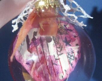 "Glass Valentine ORNAMENT--""LOVE"" hand-made paper heart Inside! 2023"