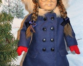 Reserved For Jeanna Molly's Blue Coat, Beret and Red Mittens for 18 inch Dolls