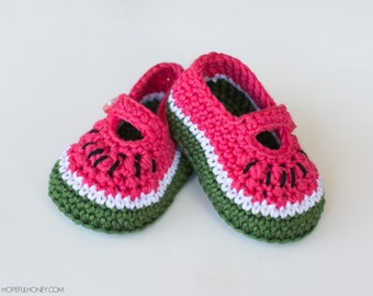 CROCHET PATTERN - Watermelon Baby Booties