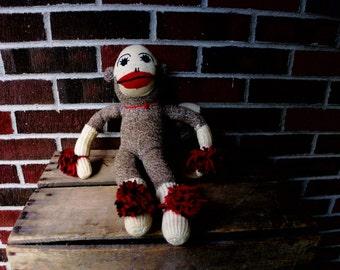 Vintage  Folk-art Handmade Sock Monkey with Pom Poms, Vintage stuffed animal, Vintage Toy, 1980's