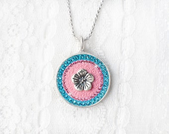Cotton Candy Necklace, Blue and Pink Swarovski Crystal Necklace, Sterling Silver Swarovski Crystal Flower Pendant Necklace