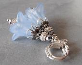 Beaded Earrings Pale Blue Flower Earrings Ice Blue Dangle Lucite Flower Earrings Nature Inspired Jewelry Fairytale Romantic Dangles Under 20