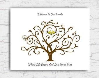 Baby Shower Guest Book Poster, Fingerprint Tree Guest Sign In, Thumbprint Tree Guestbook, Yellow Birds Instant Download Printable File 11x14