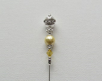 Lemon Faceted Pearl  Antique Silver Plated Hat Pin, Stick Pin, Hijab Pin