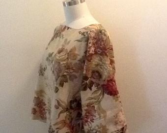 Lagenlook tunic, kimono, plus size, boho, shabby chic, Parisienne farmgirl chic