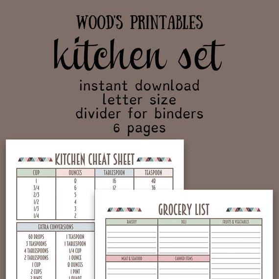 Kitchen Planner PDF Printable Home Binder By Woodsprintables