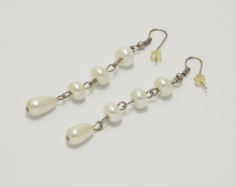Handmade gift/for/sister gift cheap present pearl earrings glass beads jewelry delicate earrings/for/women bridal earrings white jewelry