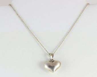 Sterling Silver Heart Necklace 18 inch Chain