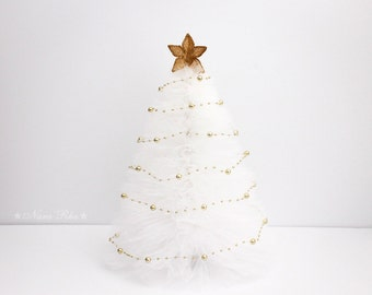 Christmas Tree - White Christmas Tree, Christmas Decor, Tulle Tree, Gold Star, Gold Decor, Holiday Decor, Home Decor