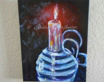 Candle Canvas Oil Painting - Impressionistic textured knife / brush painting