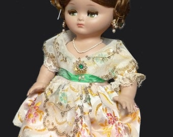 1960s Linda Pirula Vintage Costume Doll Designed for Munecas de Alba, Spanish Doll with Real Hair, Miniature Jewellery and Sleeping Eyes