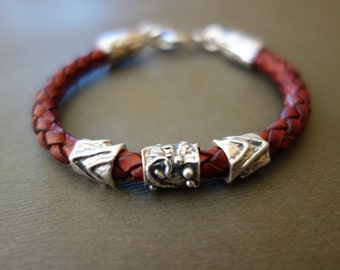 Russet Leather Bracelet with Sterling Silver Beads and Sterling Clasp/Rustic/Artisan