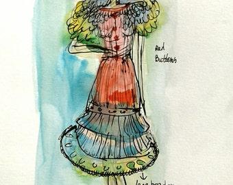 ORIGINAL watercolor***illustration***aquarel***My sunday Dress