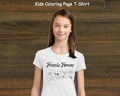 Coloring Book Page T-Shirt - Girls Best Friends Teddy Bear