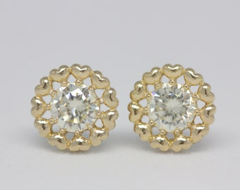 Gold heart cluster earrings, silver earrings, heart earrings, bridal earrings, earrings, stud earrings, cz earrings, gift for her, summer