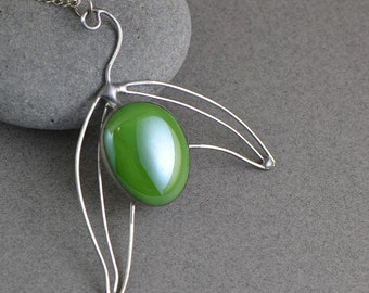 Stained glass jewelry olive fruit green pendant glass necklace Celtic stained glass fashion nature jewelry natural pendant nature inspired
