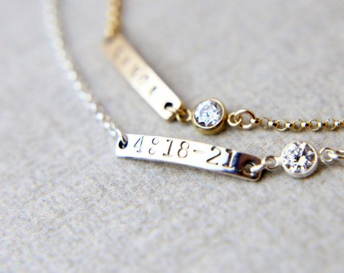 Mini skinny name bar bracelet - Gold filled or Sterling silver personalized name plate bracelet  EB011