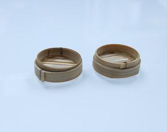 2x Miniature Steamer Chinese Dim Sum (2.3*0.8cm) - miniature bamboo steamer, Miniature Basket, Dim Sum Steamer, Mini Steamer, Mini Steam Bun