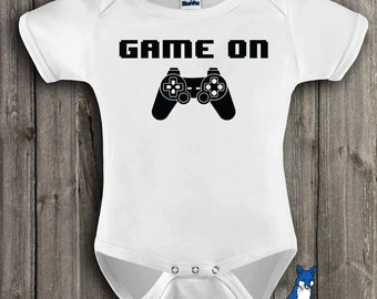 Gamer baby, Funny baby,Game On, infant bodysuit, boy or girl clothing, Geekery Approved, by BlueFoxApparel_028