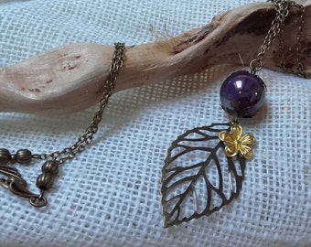 necklace leaf ceramic pearl