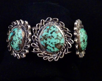 51g Vintage Navajo Sterling Silver Squash Blossom Cuff Bracelet w FANTASTIC Royston Turquoise! Gorgeous Stones w Amazing Colors!