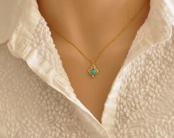Solid gold Necklace , Turquoise Pendant , Dainty Necklace , Turquoise Necklace , Small 14K gold Necklace , Delicate Necklace , Fine Pendant