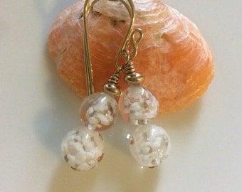 White Venetian Glass Earrings   Gold Filled Earrings   Murano Glass Earrings    Glass Dangle Earrings