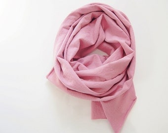 Naturally Dyed Scarf, Dusty Rose, Cotton Scarf, Jersey T Shirt, Mauve Scarf, Eco Blush Plant Dyes, Womens Mens Pink Scarf, Ready to ship