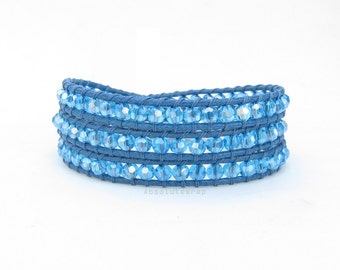 Blue crystal wrap bracelet on soft polyester cord, blue wrap bracelet, triple wrap bracelet