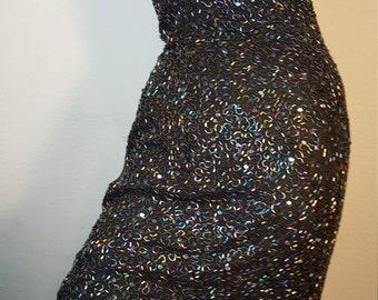 FREE  SHIPPING   Iridescent Bead Silk  Dress