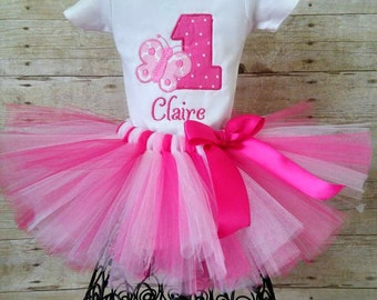 Pink 1st Birthday Butterfly Tutu Outfit With Matching Headband, First Birthday Butterfly Outfit, Cake Smash, Personalized Shirt