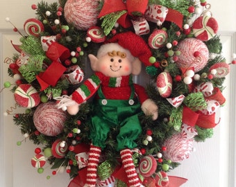 Christmas Elf Wreath / Elf Christmas Decoration /Elf Door Christmas Decor / Elf Whimsical Wreath / Handmade  and Design with Elf Decor color