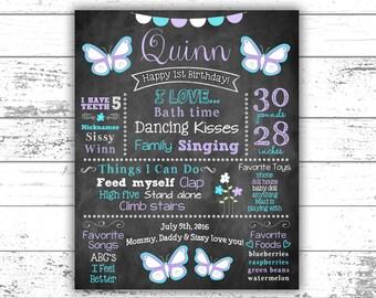 Butterfly Birthday, First Birthday Chalkboard, Birthday Decor, Keepsake, Photo Prop, Milestones, Poster, Printable, Digital File