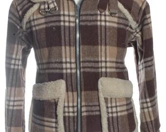 Vintage 1970's Plaid Sherpa Jacket XL - www.brickvintage.com