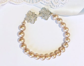 Bridal Champagne Pearl Bracelet,Single Pearl Wedding Bracelet,Silver Pave CZ Clasp,Your Choice AAA Swarovski Pearl Colors,Custom Sizing