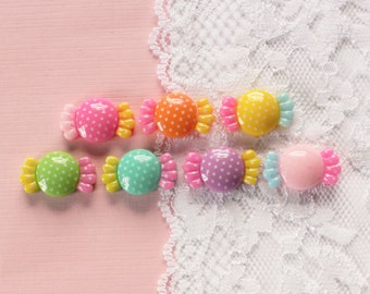 7 Pcs Assorted Wrapped Polka Dot Candy Cabochons - 23x13mm