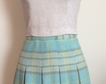 1960's Sky Blue/Green/Gray Pleated Plaid Wool Blend Mod Skirt/Small