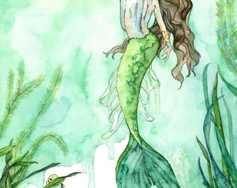 "Watercolor Mermaid Painting - Print titled, ""Among the Seagrass""Mermaid Painting, Beach Decor, Mermaid Tail, Mermaid Print, Mermaid Wall Art"