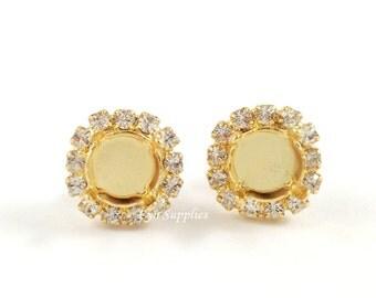Gold Earrings Base Settings 8mm ss39 Clear Crystal Rhinestones Stud Earrings 1 Pair