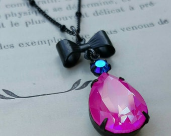 PARIS - Swarovski Neon Pink AB pear pendant necklace