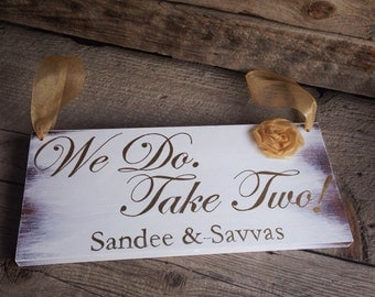 Vow Renewal Sign - Rustic Ring Bearer Sign - Personalized Rustic Ring Bearer Sign - Flower Girl Sign - Here Comes the Bride Sign