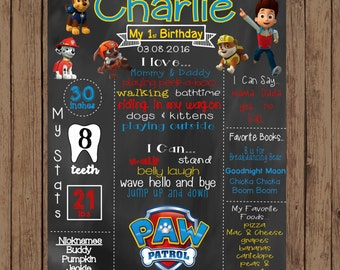 Printable Paw Patrol First Birthday Chalkboard, Paw Patrol Birthday Chalkboard, Paw Patrol Sign, Paw Patrol Poster,  2nd Birthday