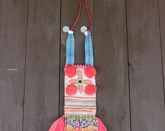 "Necklace ""Thai"" fuchsia. Pompons , gypsy, boho, ethnic, tribal, OOAK, handmade,"